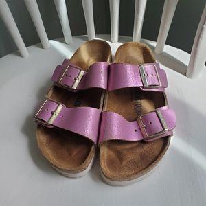 Birkenstock metallic pink Arizona sandals 7